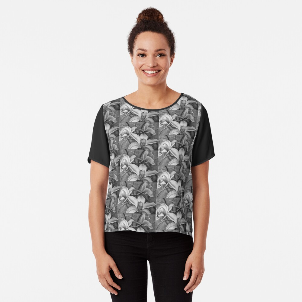 Chiffon Tops with prints by Avril Thomas, Australian Artist, Adelaide Artist, Orchids, black and white, flower, floral,