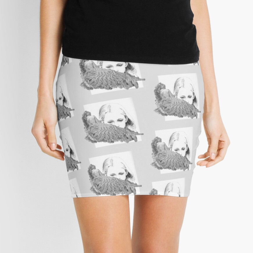 Shifts - Pencil Mini Skirt by Avril Thomas, Adelaide Artist, Australian Artist , Adelaide Artist, black and white design,